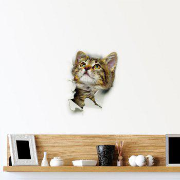 3D Cat Wall Sticker For Bathroom Bedroom Decor - BROWN PATTERN A