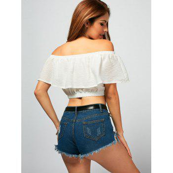 Off The Shoulder Flower Embroideried Crop Top - WHITE WHITE