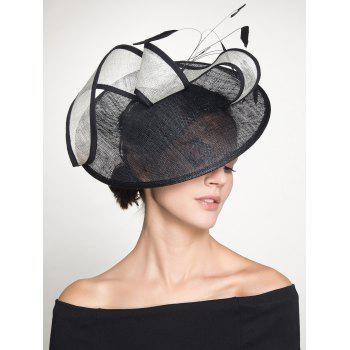 Feather Cambric Ribbon Cocktail Hat - BLACK BLACK