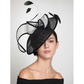 Feather Cambric Ribbon Cocktail Hat -  BLACK