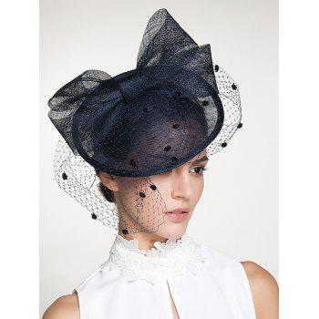 Wide Bowknot Fascinator Veil Flax Cocktail Hat