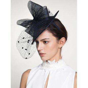 Wide Bowknot Fascinator Veil Flax Cocktail Hat -  DEEP BLUE