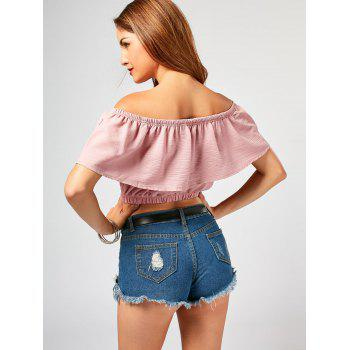 Off The Shoulder Flower Embroideried Crop Top - PINK XL