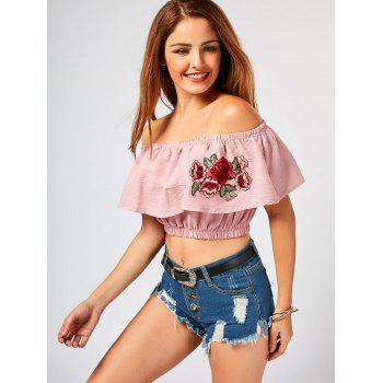 Off The Shoulder Flower Embroideried Crop Top - PINK L