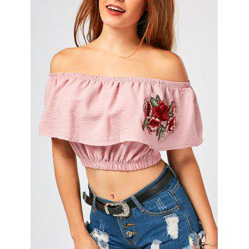 Off The Shoulder Flower Embroideried Crop Top - PINK M