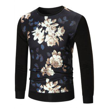 Ribbed Trim Flower Printed Long Sleeve T-shirt