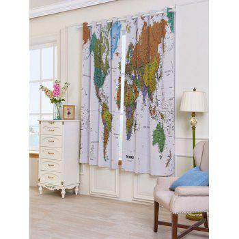 World Map Print Blackout Window Curtains - W53 INCH * L63 INCH W53 INCH * L63 INCH