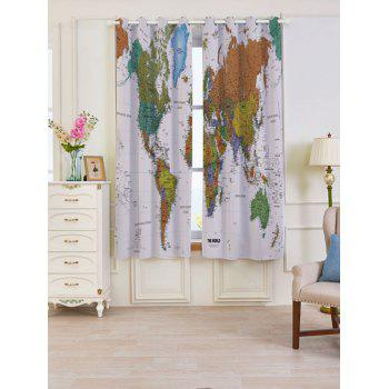 World Map Print Blackout Window Curtains - COLORFUL W53 INCH * L63 INCH