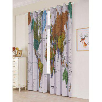 Carte du monde Imprimer Blackout Window Curtains - Coloré W53 INCH * L96.5 INCH
