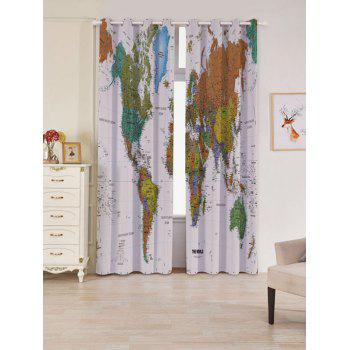 World Map Print Blackout Window Curtains - COLORFUL COLORFUL