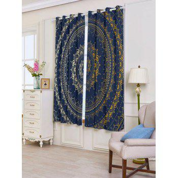 Bohemian Mandala Printed Blackout Window Curtains - COLORFUL W53 INCH * L63 INCH