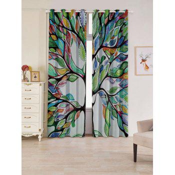 2 PCs Blackout Life of Tree Print Window Curtains - COLORFUL COLORFUL