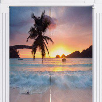 Beach Scenery Printing Fabric Home Door Curtain - W33.5 INCH * L35.5 INCH W33.5 INCH * L35.5 INCH