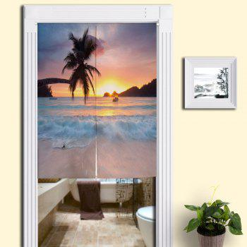 Beach Scenery Printing Fabric Home Door Curtain - COLORMIX W33.5 INCH * L35.5 INCH