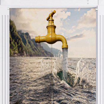 Sea and Faucet Printed Home Door Curtain - W33.5 INCH * L35.5 INCH W33.5 INCH * L35.5 INCH