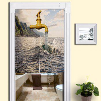 Sea and Faucet Printed Home Door Curtain - COLORMIX W33.5 INCH * L35.5 INCH
