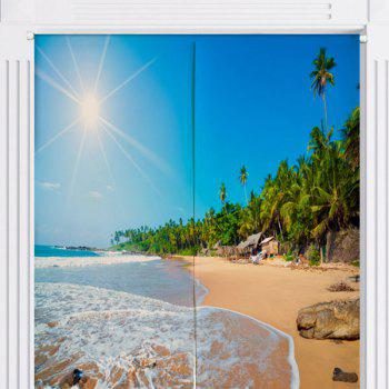 Home Product Sunshine Beach Print Door Curtain - W33.5 INCH * L35.5 INCH W33.5 INCH * L35.5 INCH