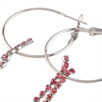 Rhinestoned Circle Fringed Hoop Drop Earrings - PINK