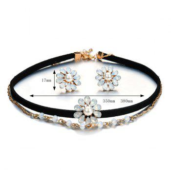 Artificial Pearl Crystal Flower Jewelry Set -  BLACK