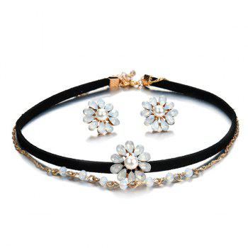 Artificial Pearl Crystal Flower Jewelry Set - BLACK BLACK