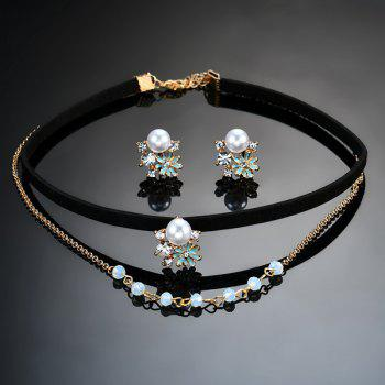 Artificial Pearl Rhinestone Floral Jewelry Set -  BLACK