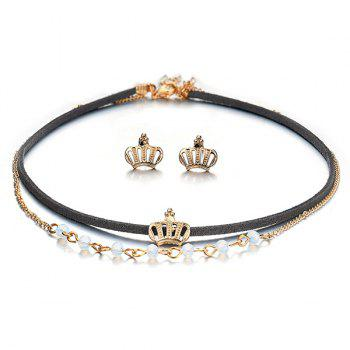 Crown Earring and Choker Necklace Set - BLACK BLACK