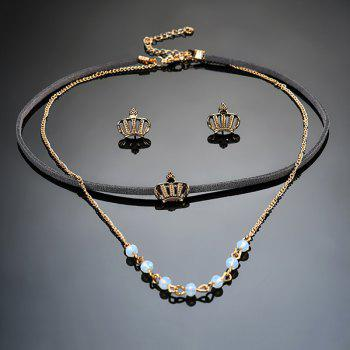 Crown Earring and Choker Necklace Set -  BLACK