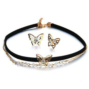 Butterfly Earring and Choker Necklace Set - BLACK BLACK