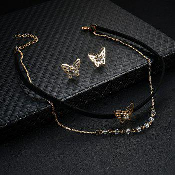 Butterfly Earring and Choker Necklace Set -  BLACK