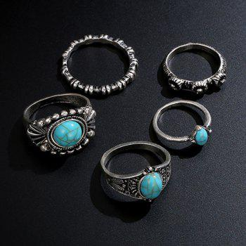 Faux Turquoise Oval Bohemian Ring Set - Argent