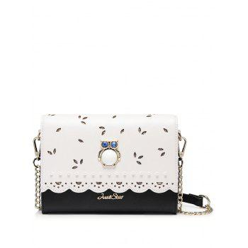 Owl Beads Scalloped Crossbody Bag - BLACK BLACK