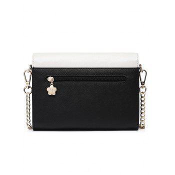 Owl Beads Scalloped Crossbody Bag -  BLACK