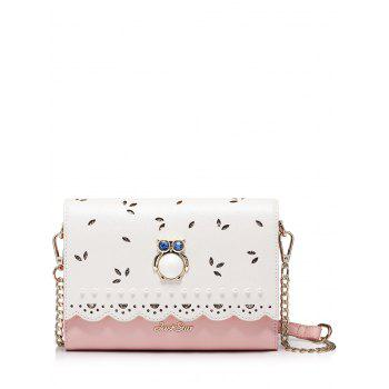 Owl Beads Scalloped Crossbody Bag - PINK PINK