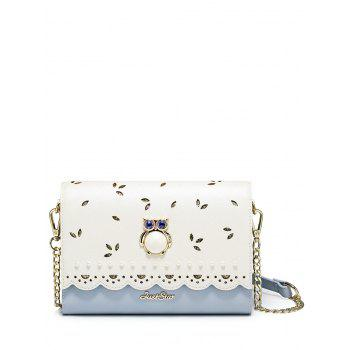 Owl Beads Scalloped Crossbody Bag - BLUE BLUE