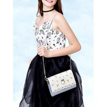 Owl Beads Scalloped Crossbody Bag -  BLUE