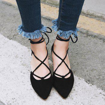 Chunky Heel Lace Up Suede Pumps - BLACK 38