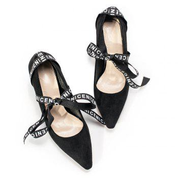Letter Print Tie Up Stiletto Heel Pumps - BLACK 37