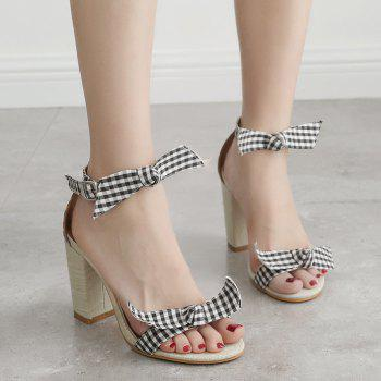 Plaid Pattern Bowknots Ankle Strap Sandals