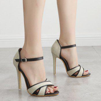 Canvas Ankle Wrap Sandals