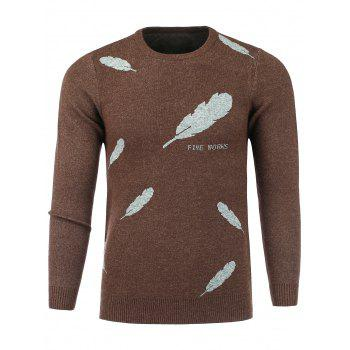 Crew Neck Stretchy Feather Print Sweater