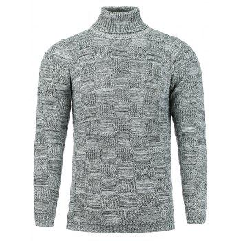 Turtle Neck Knit Blends Checked Sweater