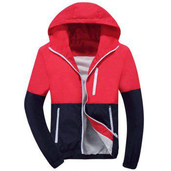 Zip Up Hooded Color Block Track Jacket