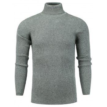 Turtle Neck Stretchy Vertical Knitting Sweater