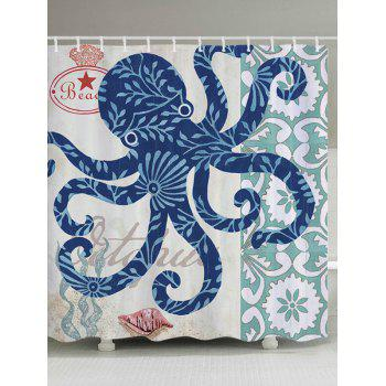 Octopus Print Fabric Bathroom Shower Curtain
