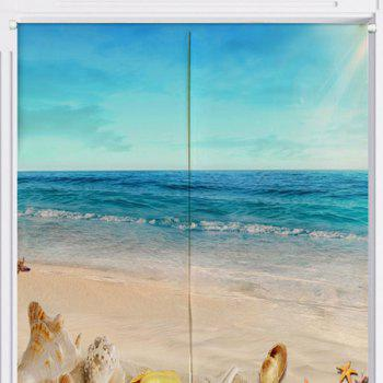 Beach Scenery Print Cotton Linen Door Curtain - W33.5 INCH * L35.5 INCH W33.5 INCH * L35.5 INCH