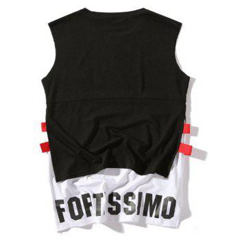 Side Slit High Low Graphic Tank Top - M M