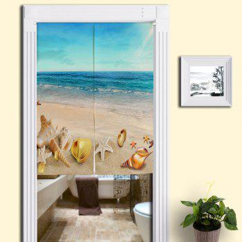 Beach Scenery Print Cotton Linen Door Curtain - BLUE W33.5 INCH * L47 INCH