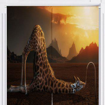 Giraffe Drink Water Print Home Animal Door Curtain - W33.5 INCH * L35.5 INCH W33.5 INCH * L35.5 INCH