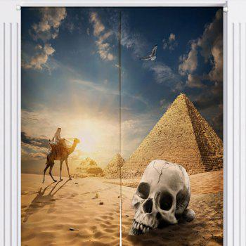 Skull Pyramid Pattern Cotton Linen Door Curtain - W33.5 INCH * L35.5 INCH W33.5 INCH * L35.5 INCH