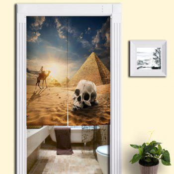 Skull Pyramid Pattern Cotton Linen Door Curtain - SAND YELLOW W33.5 INCH * L35.5 INCH